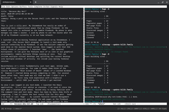 ssh tmux emacs session